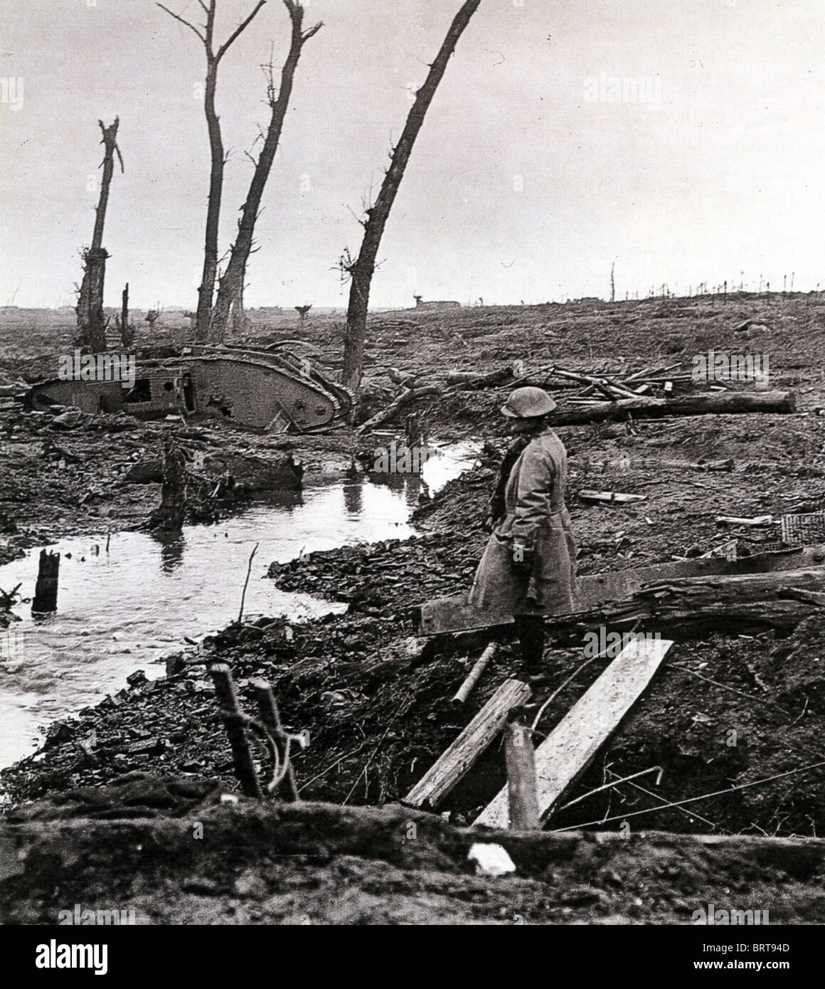 FIRST WORLD WAR - YPRES battlefield February 1918 - Stock Image