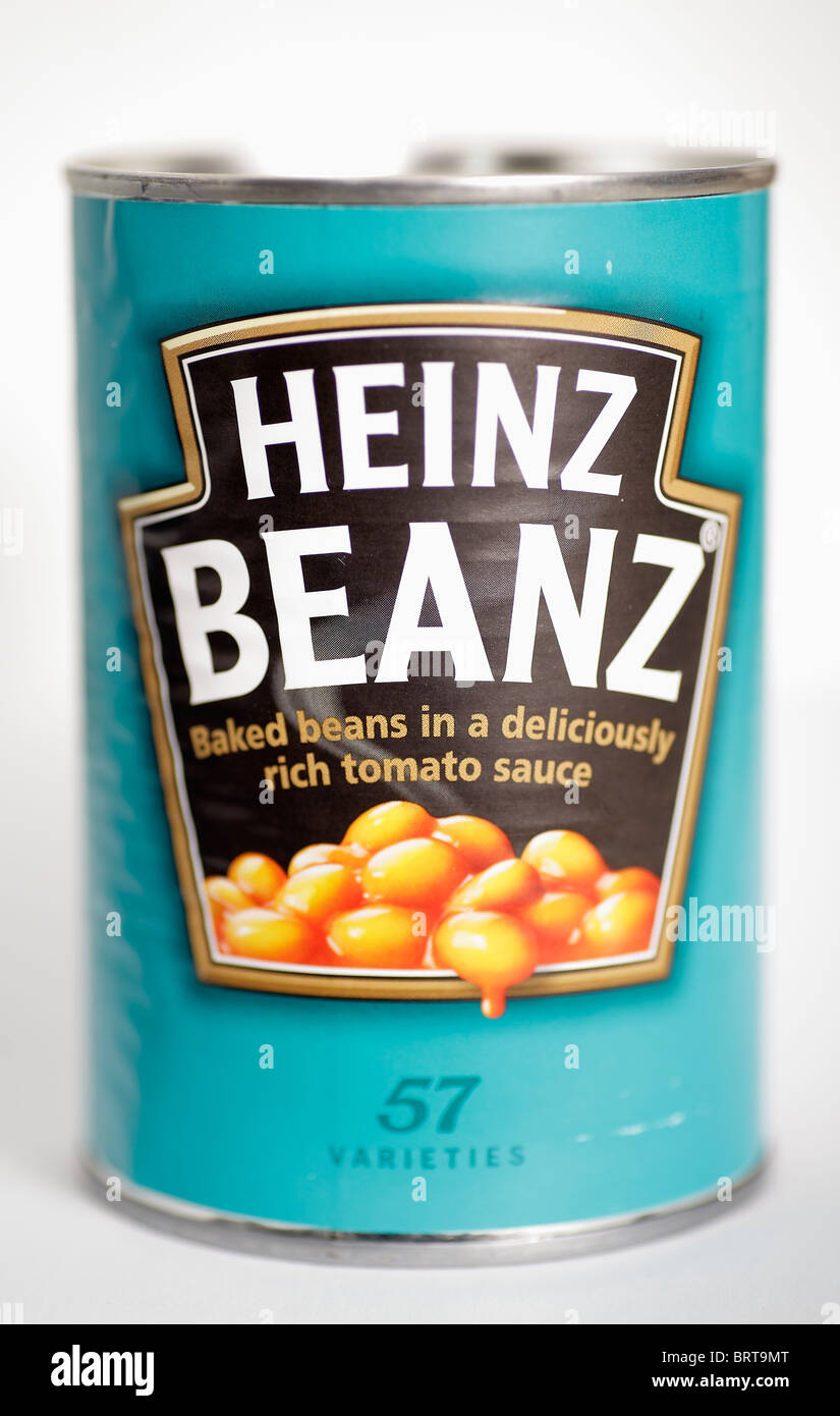 tin can of Heinz baked beans beanz ringpull - Stock Image