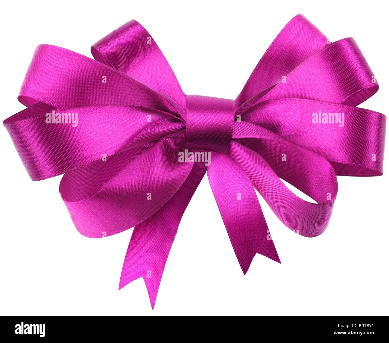 Bow, made of red silk ribbon. Contains line cut - Stock Image