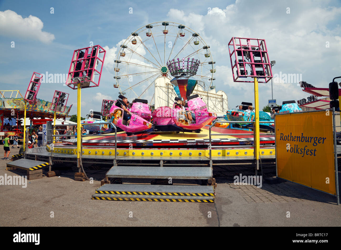 The spinning top amusement at the Rothenburger Volksfest in Rothenburg, Franconia, Bavaria, Germany Stock Photo