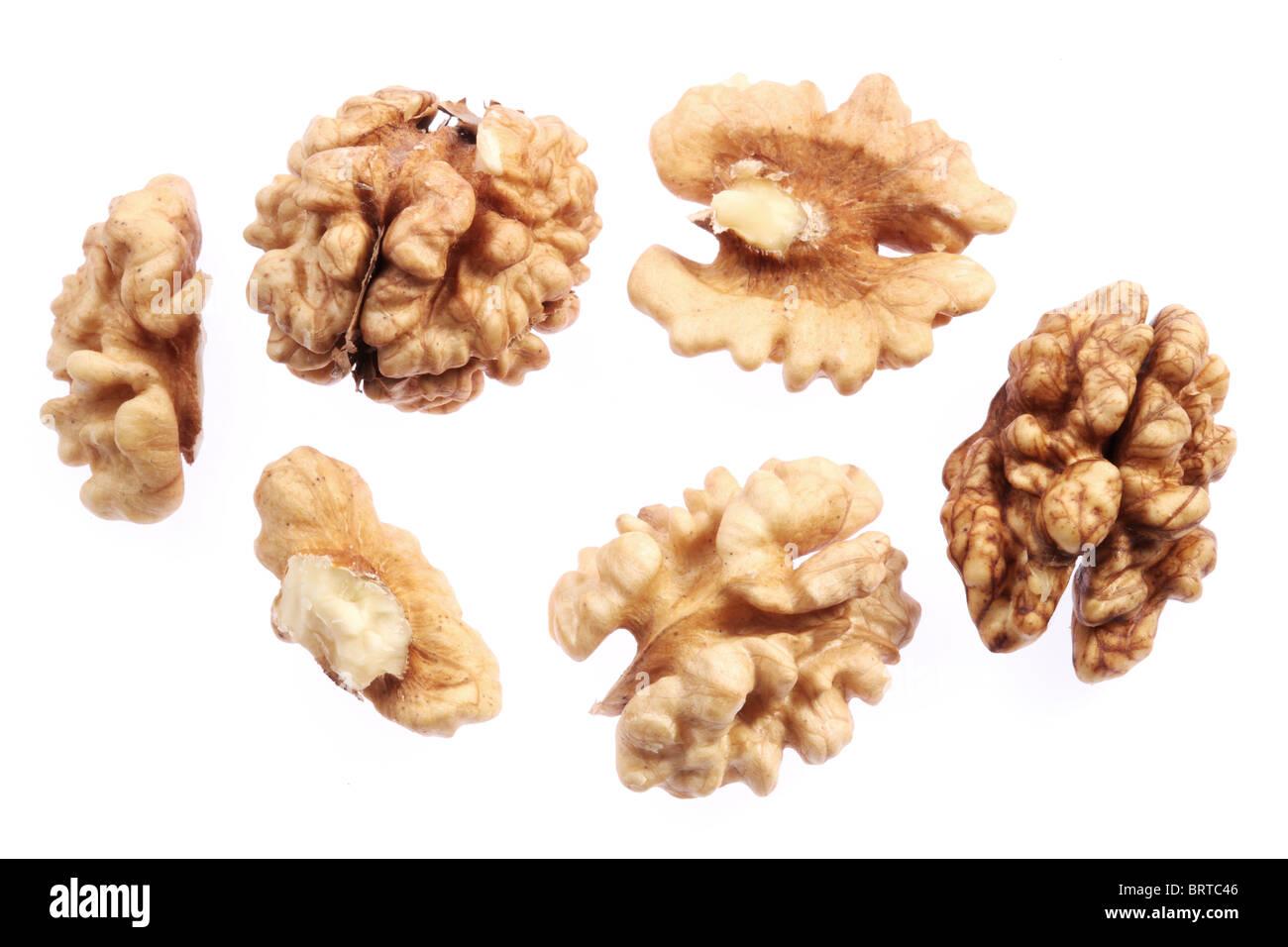 Walnut kernels isolated on a white background. - Stock Image