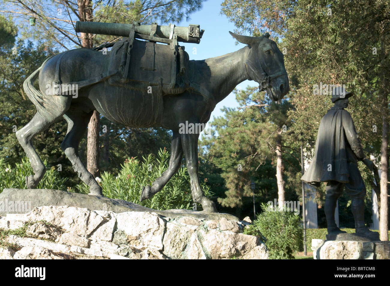Monument to the Alpine soldier and to the humble hero, Villa Borghese, Rome - Stock Image