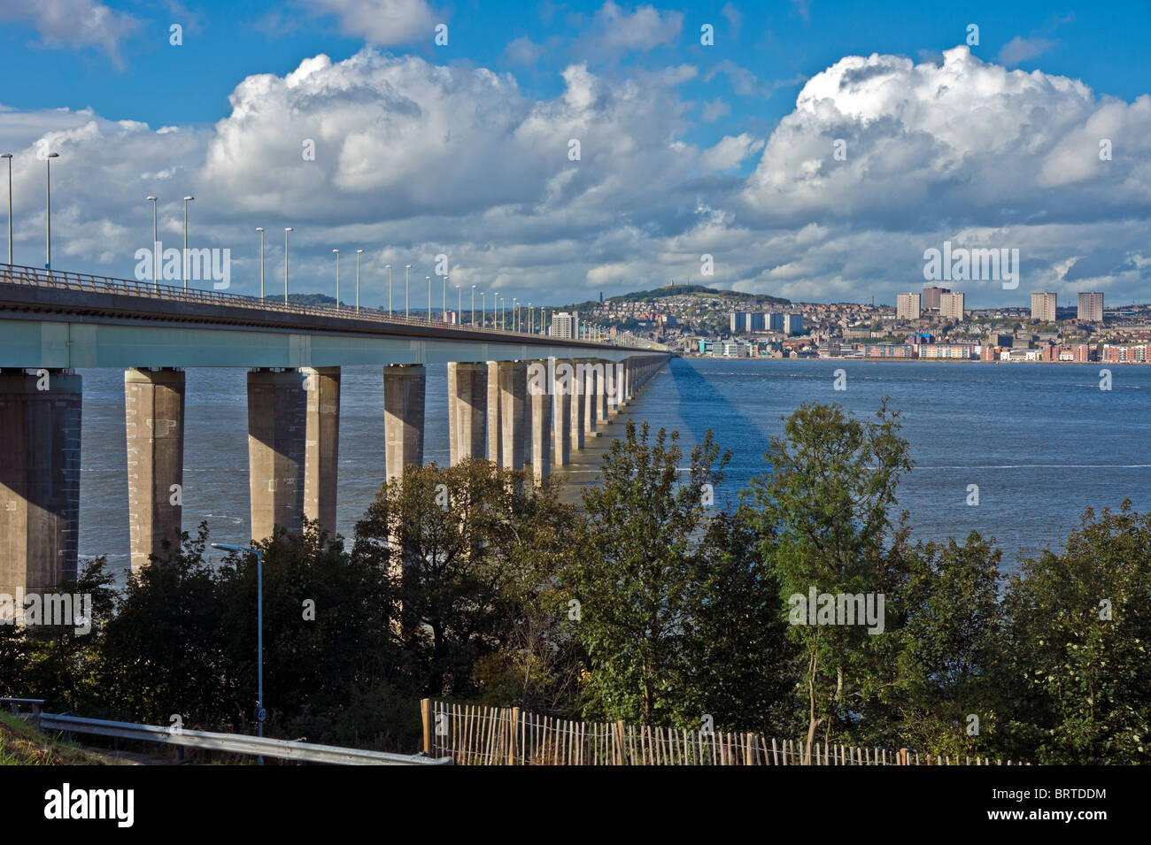 Tay Road Bridge linking Fife with Dundee in Scotland by crossing the Firth of Tay as seen from the Fife side near - Stock Image