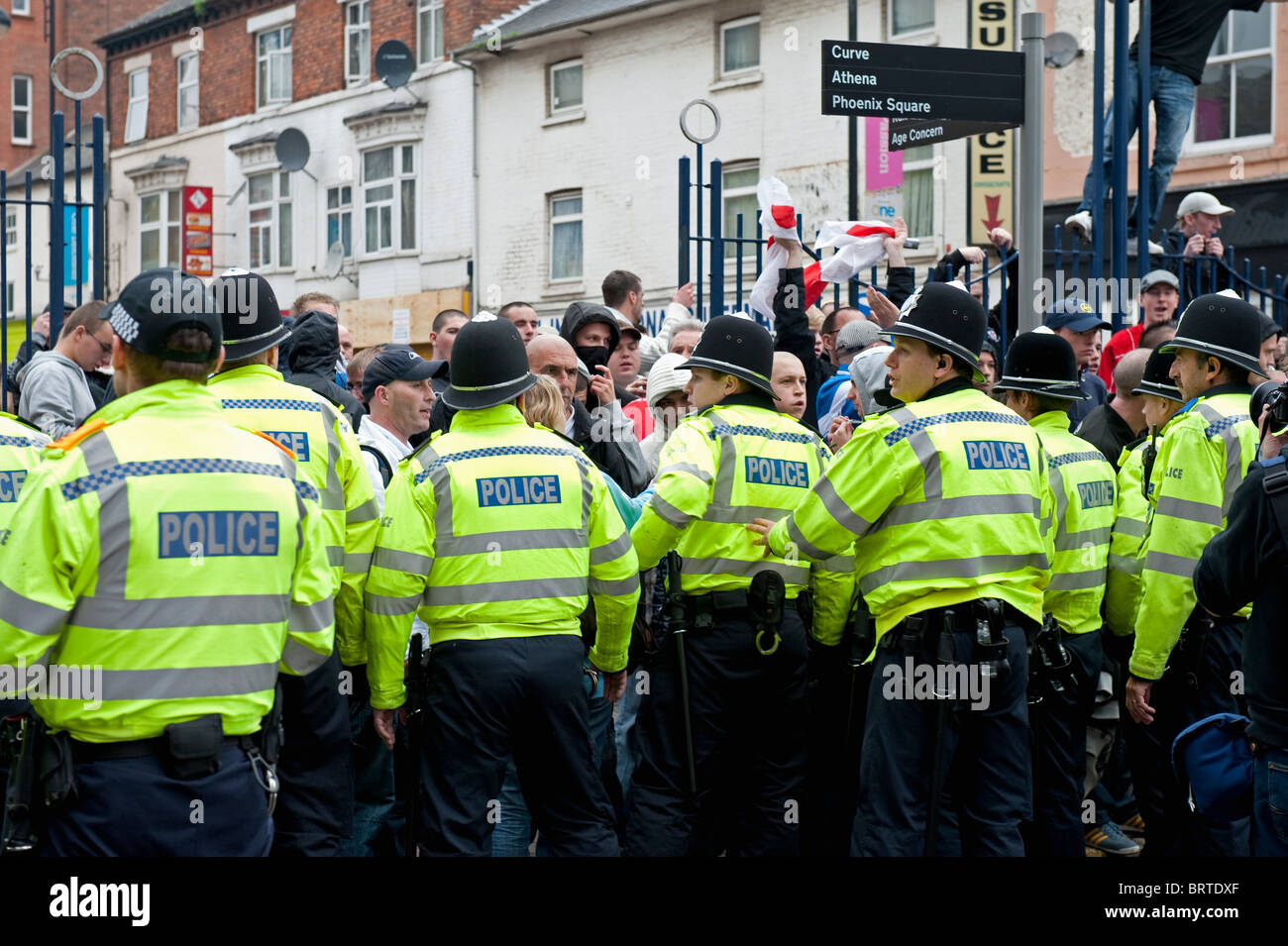 Policing The English Defence League demonstration in Leicester. 9th October 2010. - Stock Image