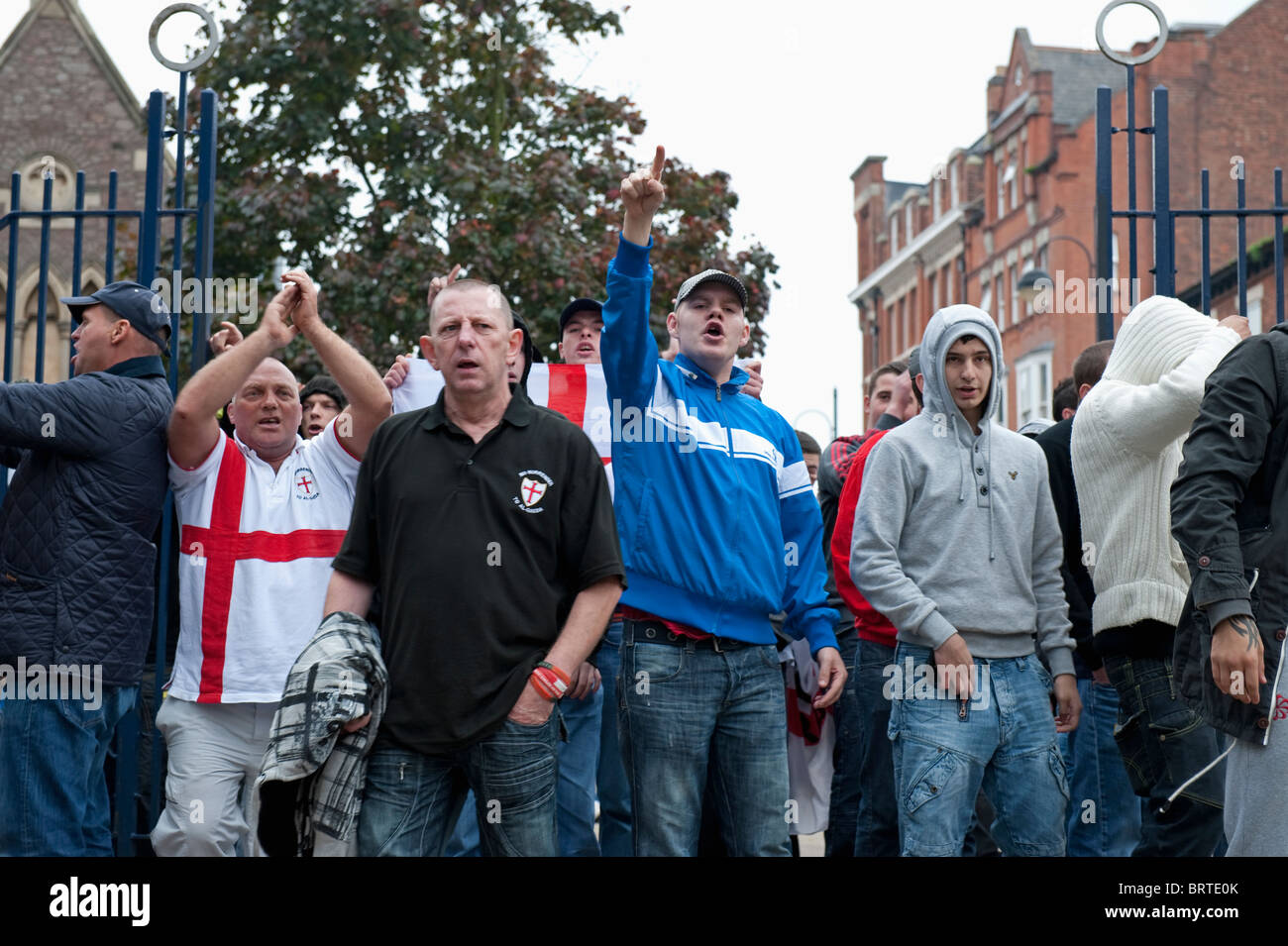The English Defence League demonstrate in Leicester. 9th October 2010. - Stock Image