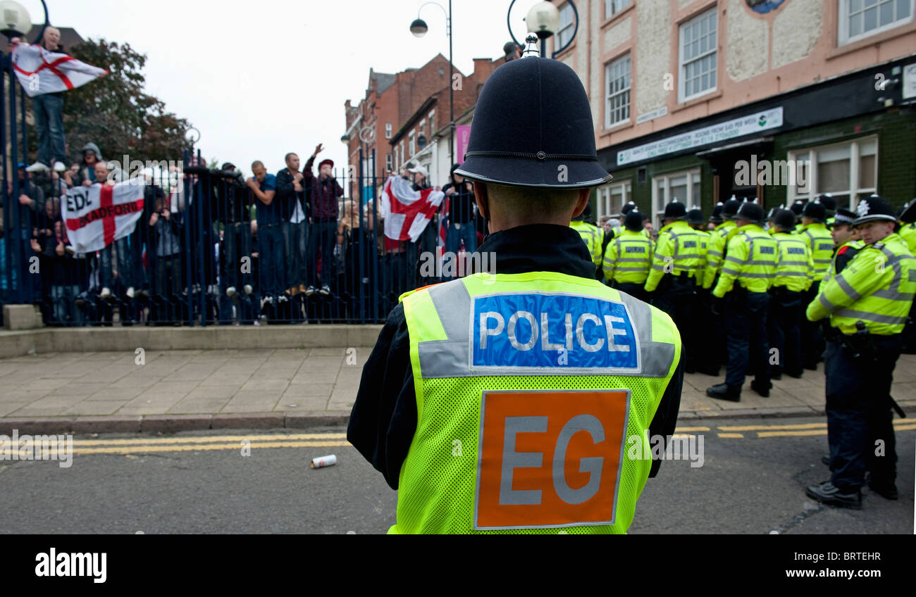 Policing The English Defence League demonstration in Leicester. 9th October 2010. Stock Photo