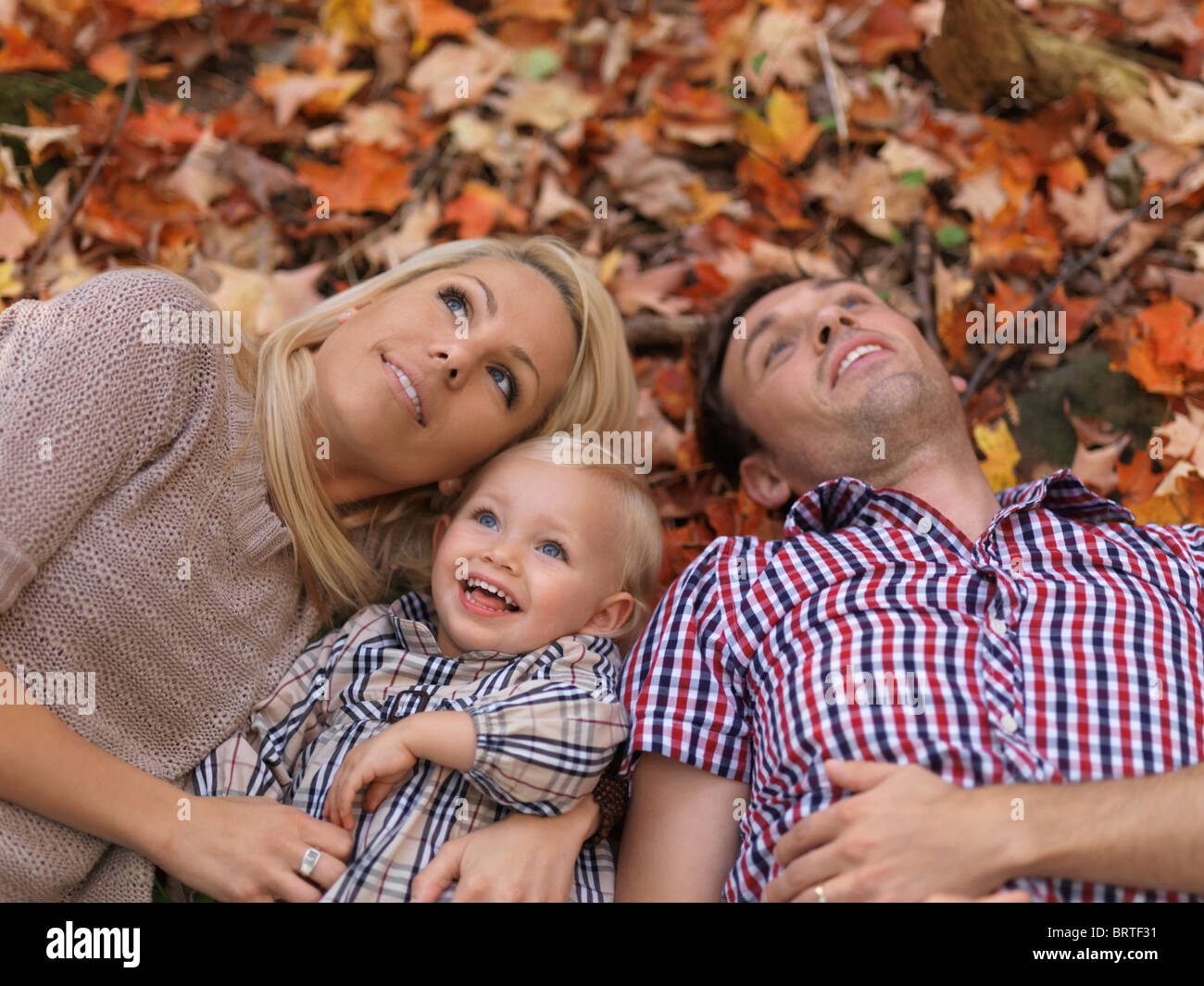 Happy smiling young parents and a two year old girl lying on colorful fallen tree leaves in autumn nature - Stock Image