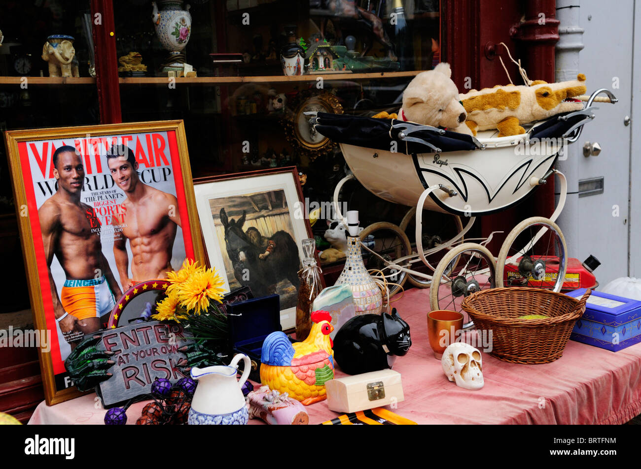 Antiques Shop display, Golbourne, Road, off Portobello Road, Notting Hill, London, England, UK - Stock Image