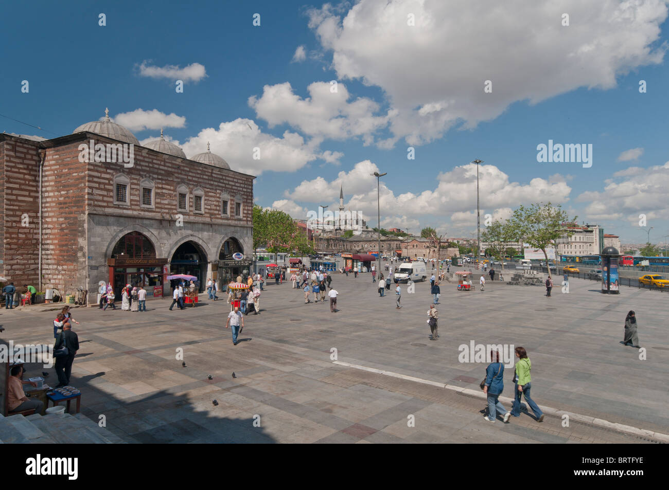 Egyptian bazaar and Rustem pasa mosque in the backround , Eminonu place,istanbul,Turkey - Stock Image