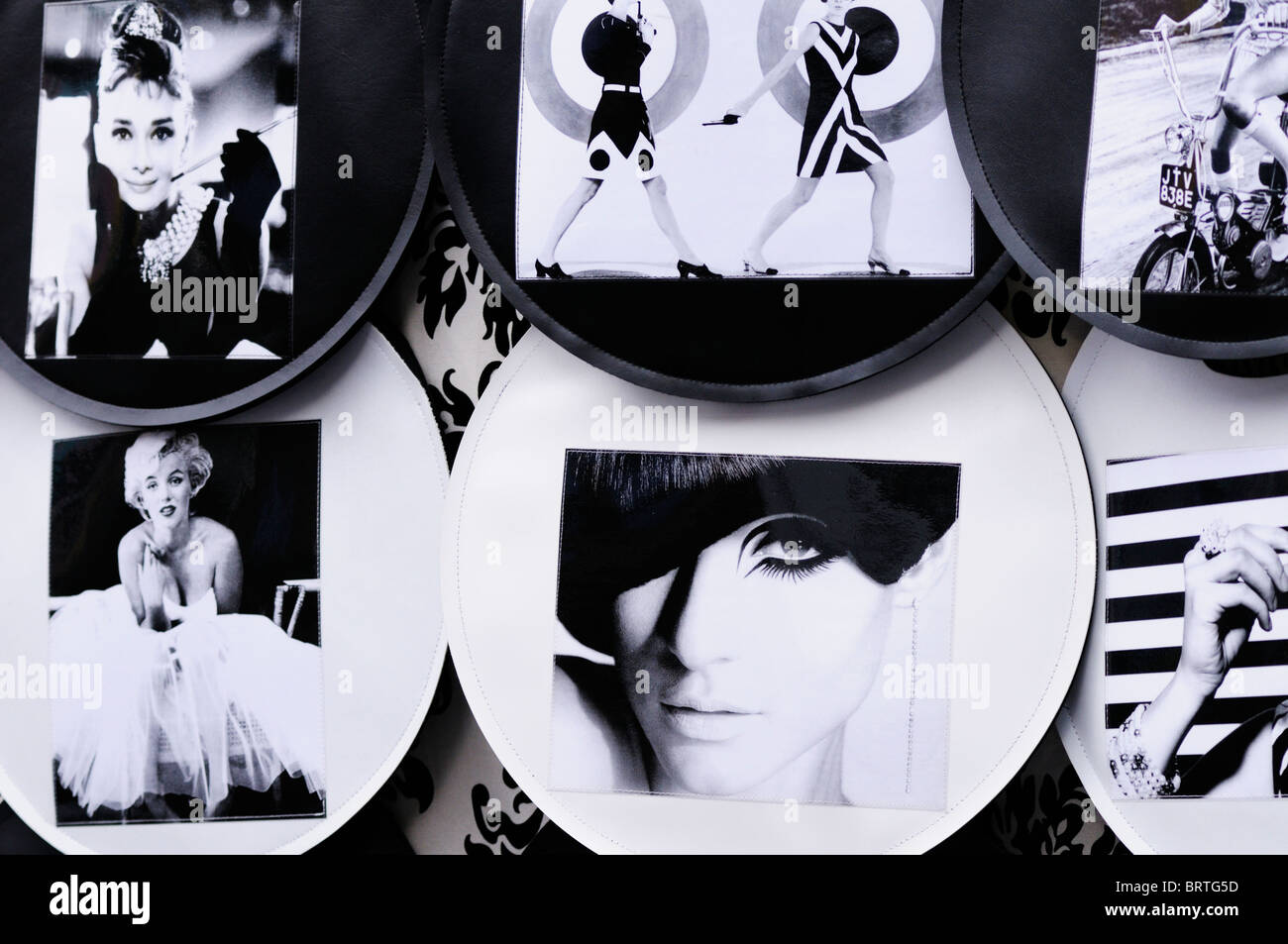 Graphic art on a stall on Portobello Market, Notting Hill, London, England, UK - Stock Image