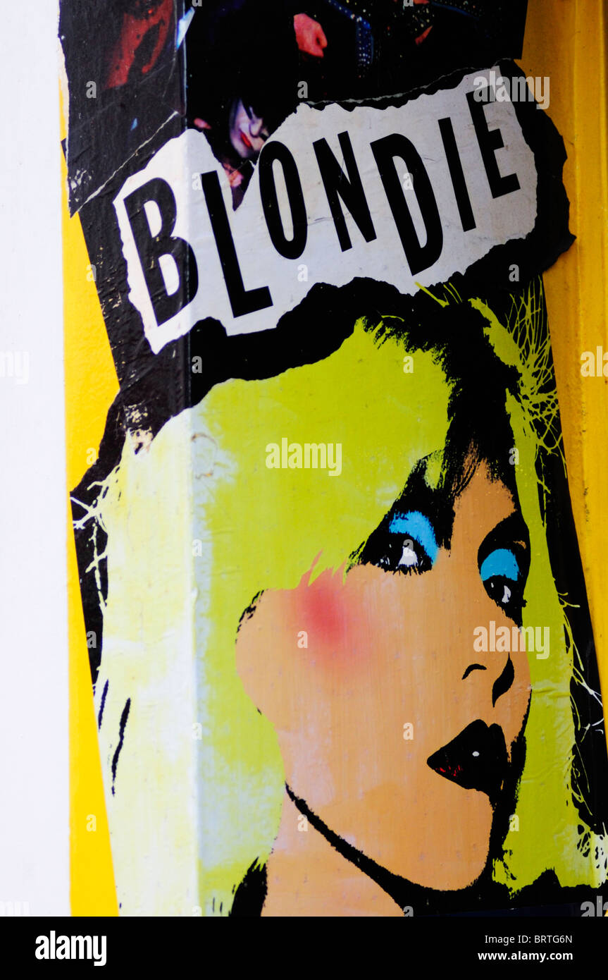 Blondie Caricature painting of Debbie Harry at a Music Shop in Pembridge Road, Notting Hill, London, England, UK - Stock Image