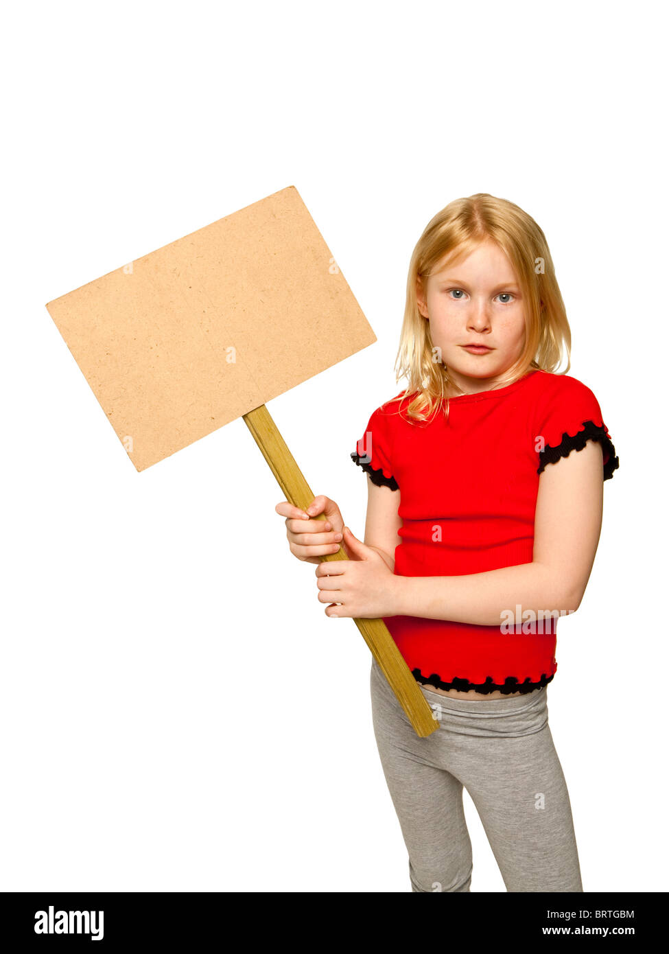 Young pretty caucasian girl with  blank placard - Stock Image