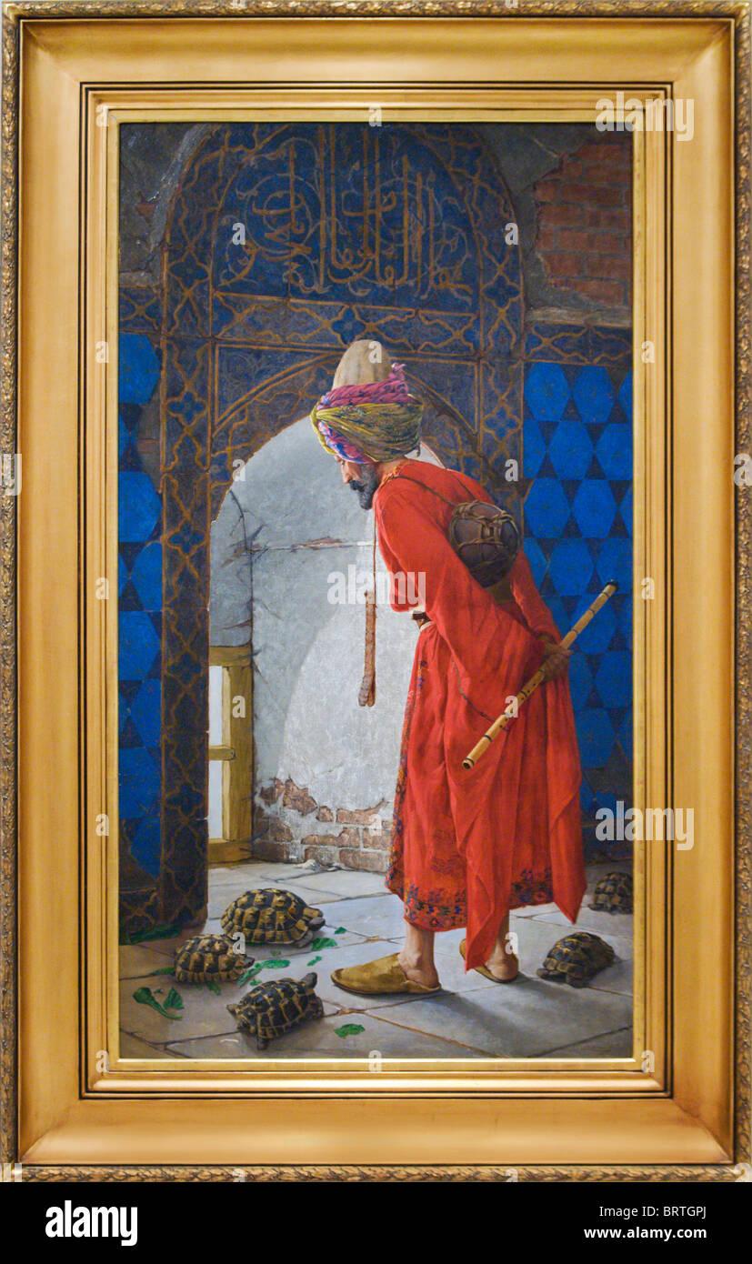 'The Tortoise Trainer' by Osman Hamdi Bey, Pera Museum, İstanbul - Stock Image