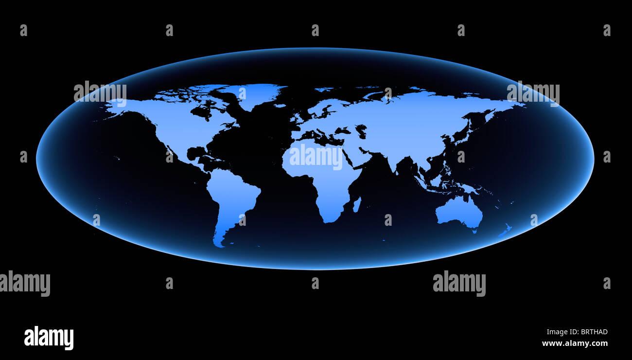 Blue world map. Stock Photo