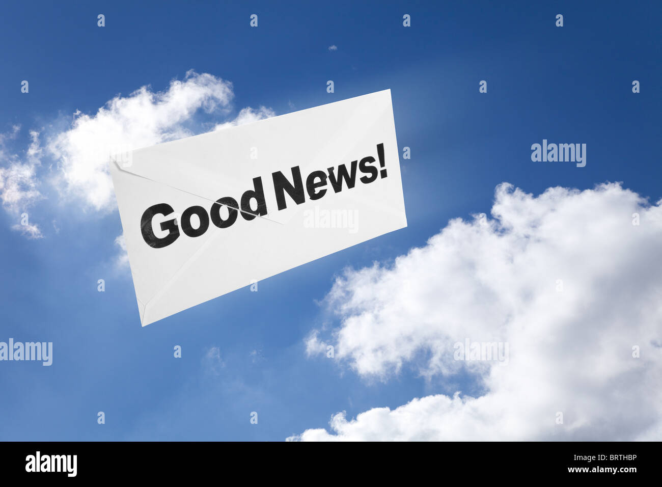 Good News,envelope and blue sky, concept of success - Stock Image