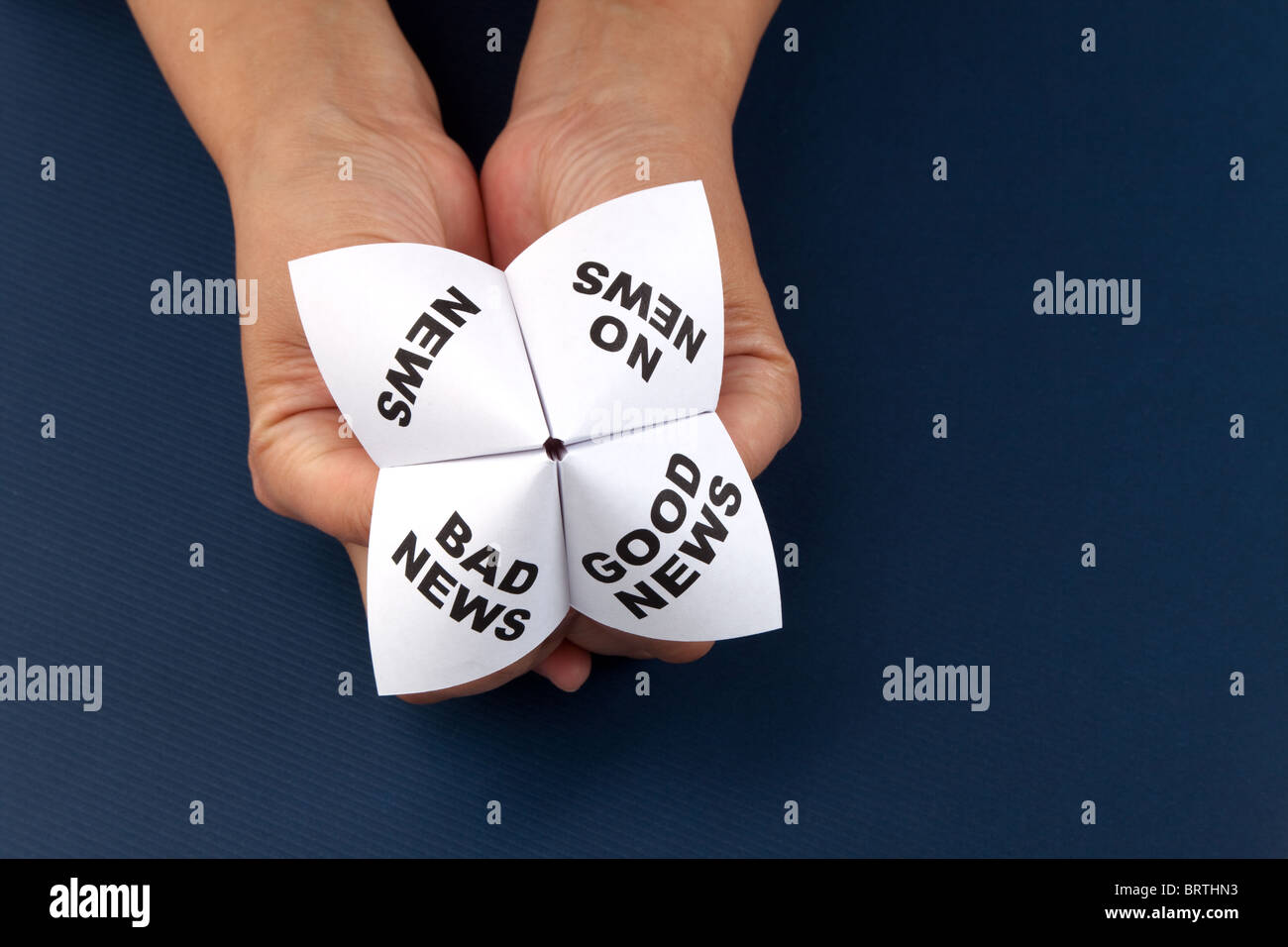 Paper Fortune Teller, Good News; Bad News; No News; News, concept of business decision - Stock Image