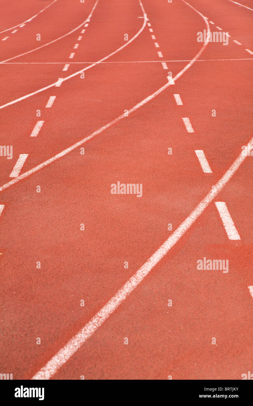 Red stadium race track close up shot - Stock Image