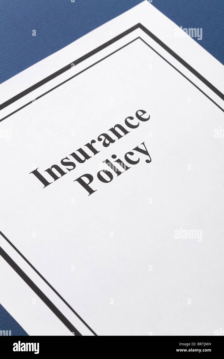 Document of Insurance Policy, Life; Health, car, travel, for background - Stock Image