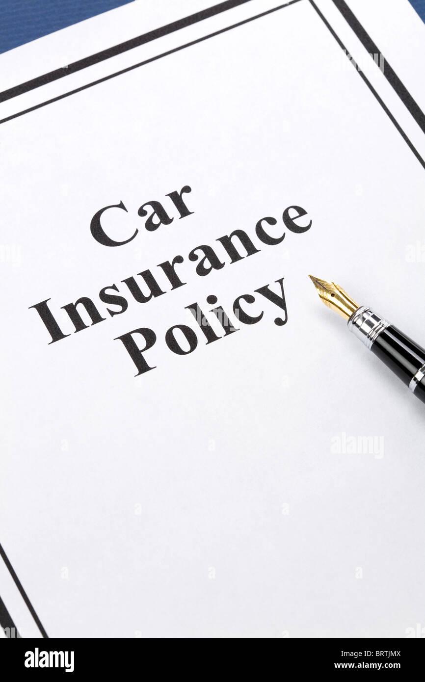 Car Insurance Document Stock Photos Car Insurance Document Stock