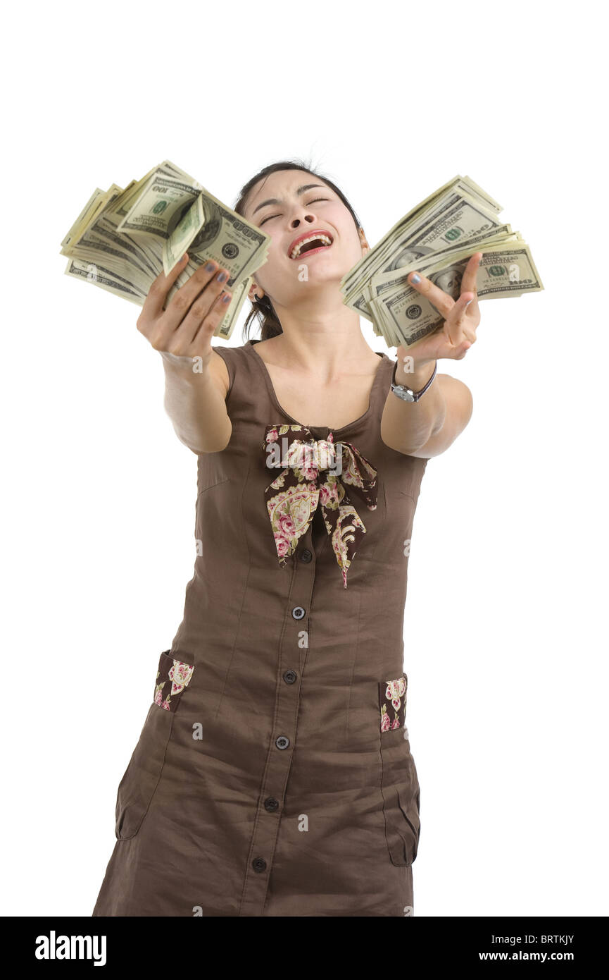 f4be47e3abe pretty woman holding lots of 100 dollar bills in her hand and almost ...