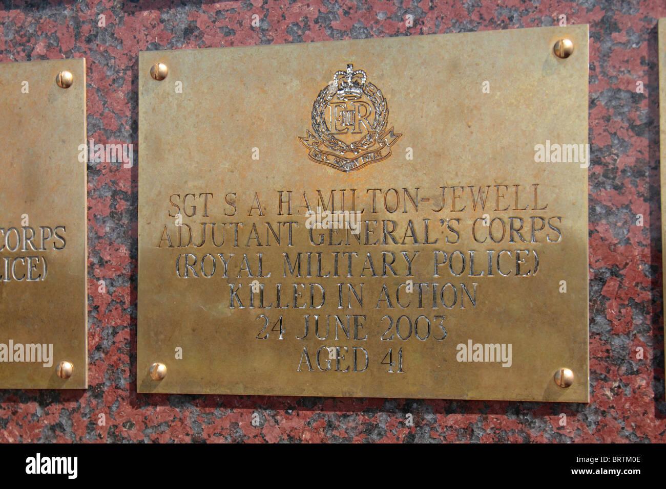 Name plate for Sgt SA Hamilton-Jewel, Royal Military Police on the Basra Memorial Wall, National Memorial Arboretum, - Stock Image