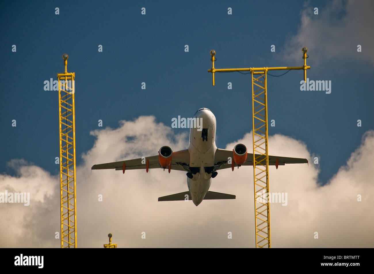 Jet aircraft taking off from Bristol Airport, UK - Stock Image