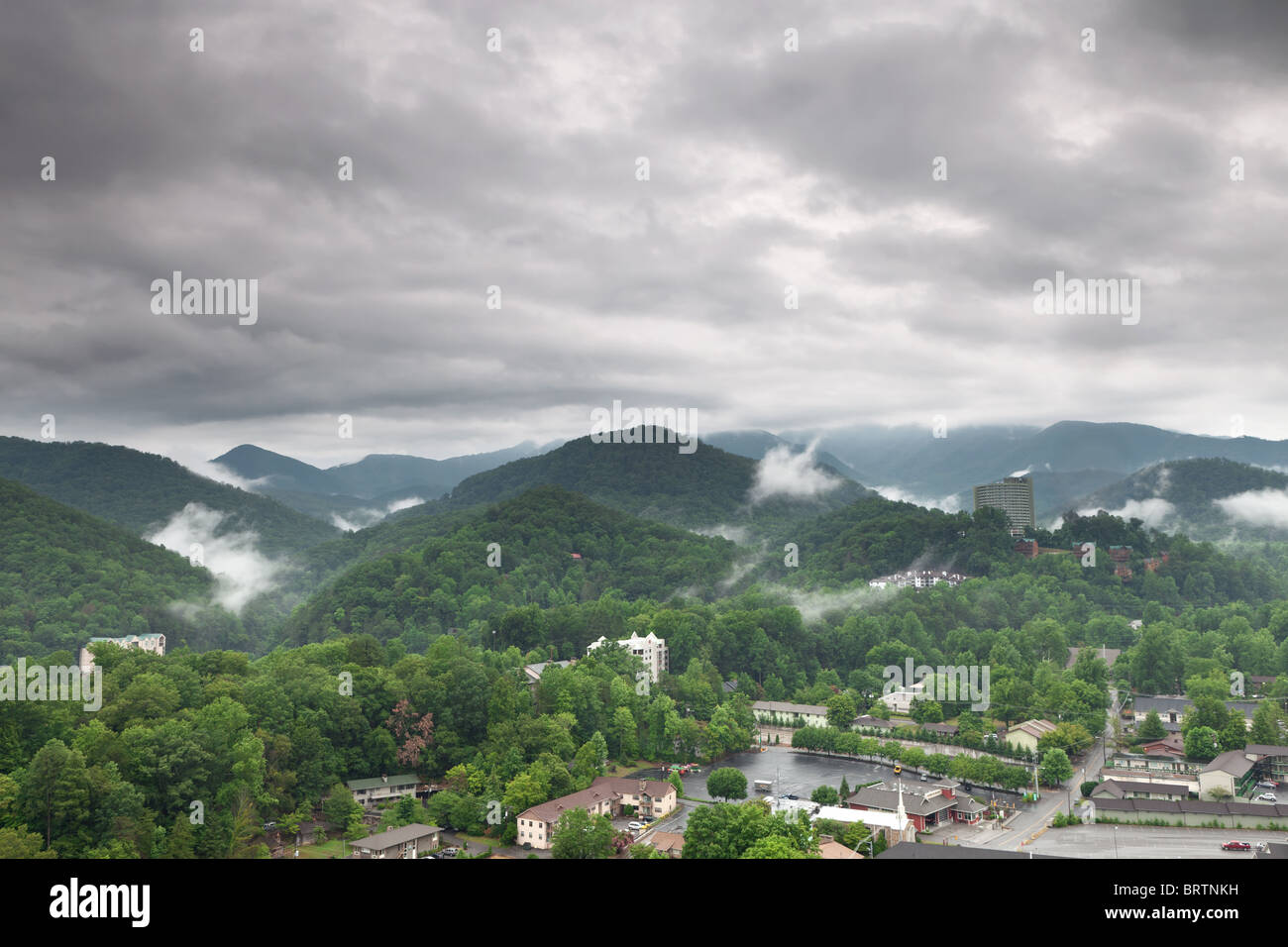 View of Gatlinburg city. Great Smoky Mountains National Park, Tennessee, USA - Stock Image