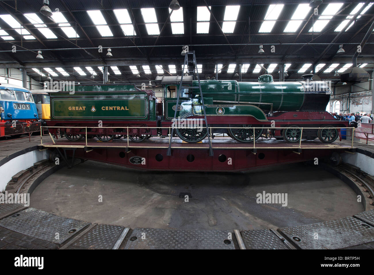 Barrow Hill Railway Engine Shed in Chesterfield Derbyshire.  Britain's last surviving operational working roundhouse. Stock Photo