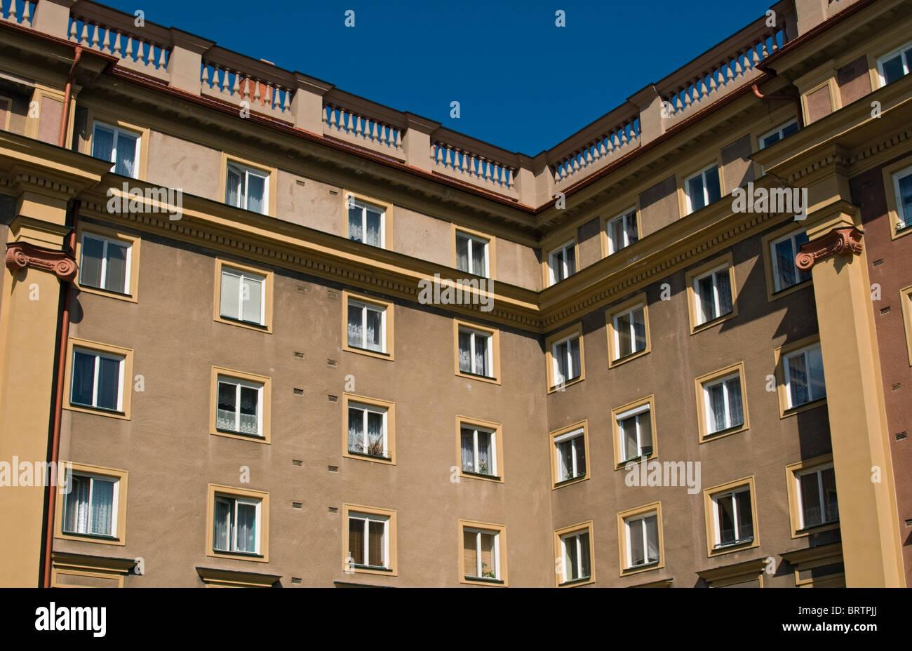 Apartment Building Built in Socialist Realism Architecture Style in 1950s, Hlavni trida, Poruba, Ostrava, Czech - Stock Image