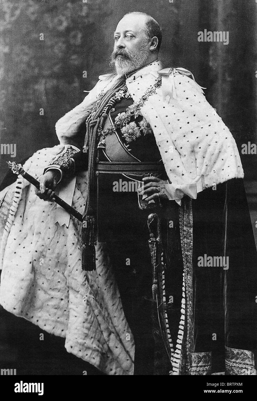 KING EDWARD VII (1841-1910) in his Coronation robes - Stock Image