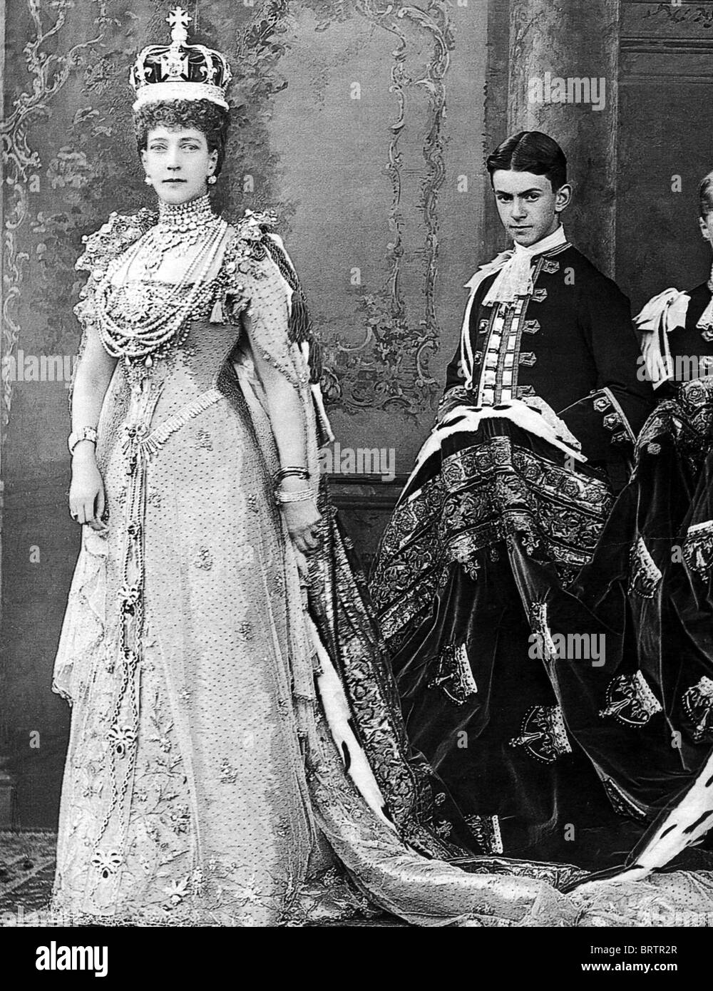 QUEEN ALEXANDRA  (1844-1925) consort of Edward VII dressed for his Coronation in 1902 - Stock Image