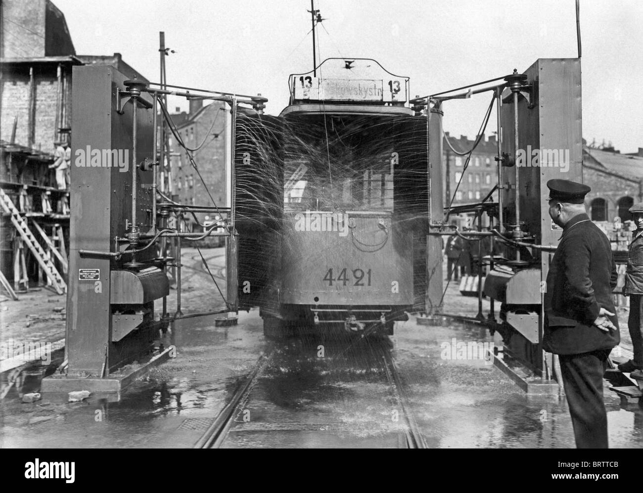 Washing plant for streetcars, historical image, 1925, Berlin, Germany, Europe - Stock Image