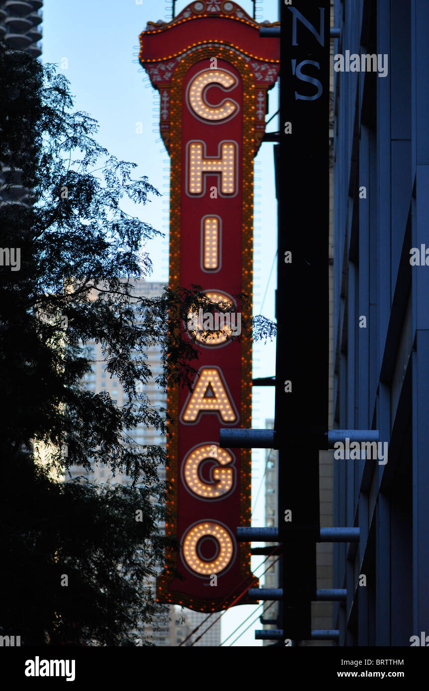 Chicago Theatre Marquee Sign Vintage - Stock Image