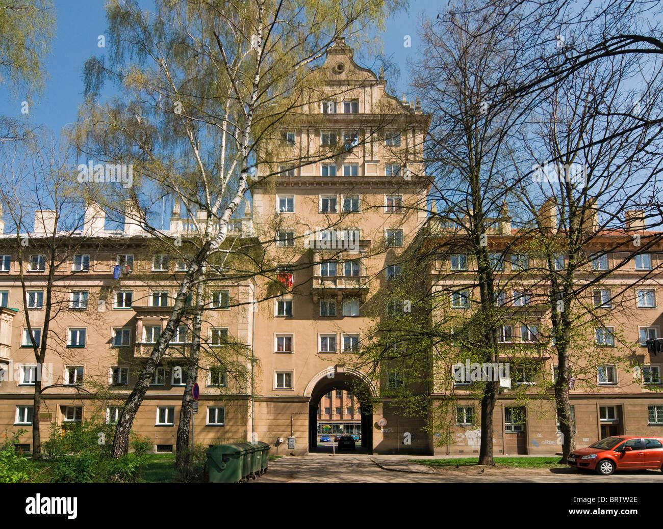 Apartment Building Built in Socialist Realism Architecture Style in 1950s, Poruba District of Ostrava, Czech Republic - Stock Image