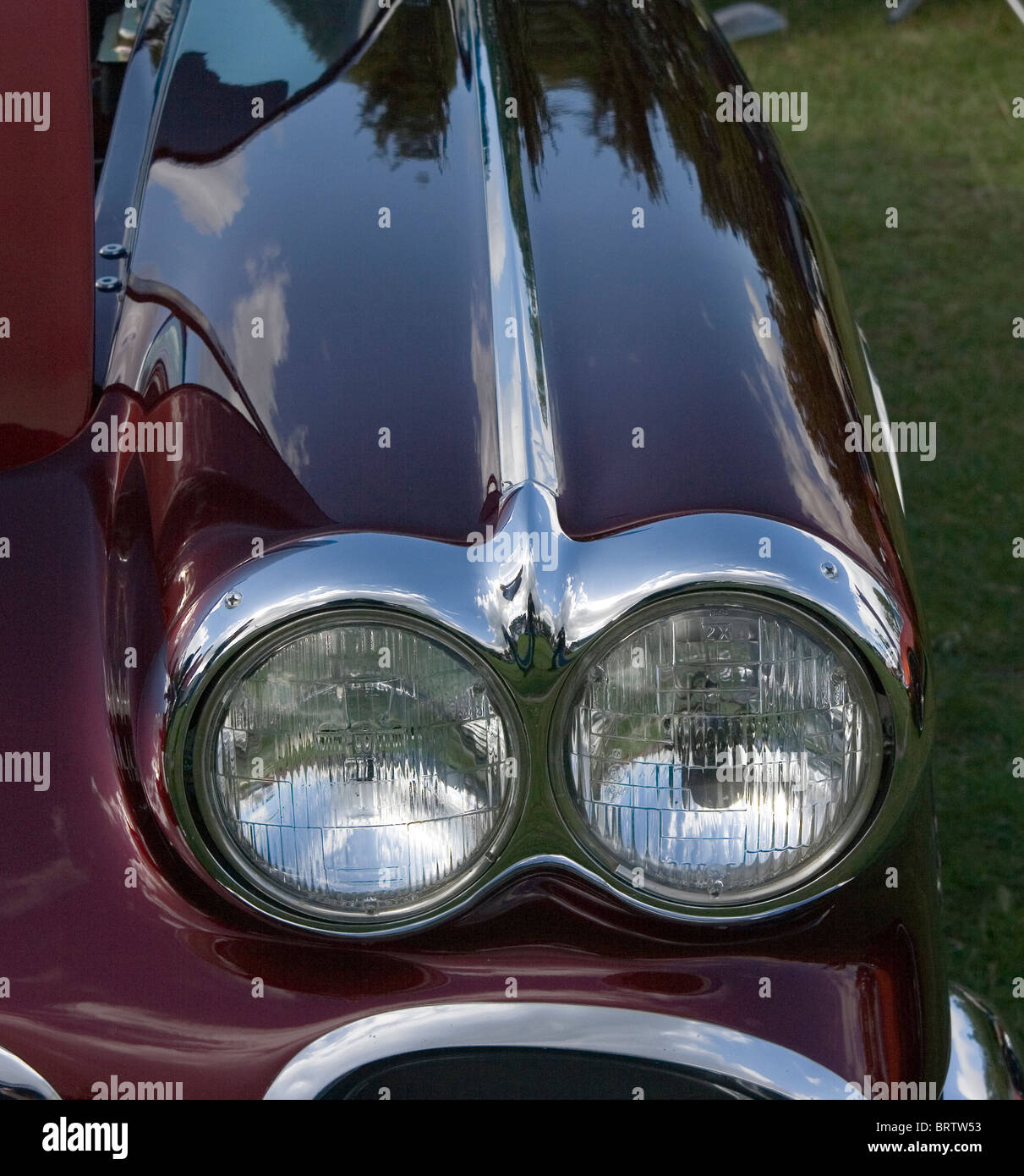 Chevrolet Corvette Twin Headlamps - Stock Image