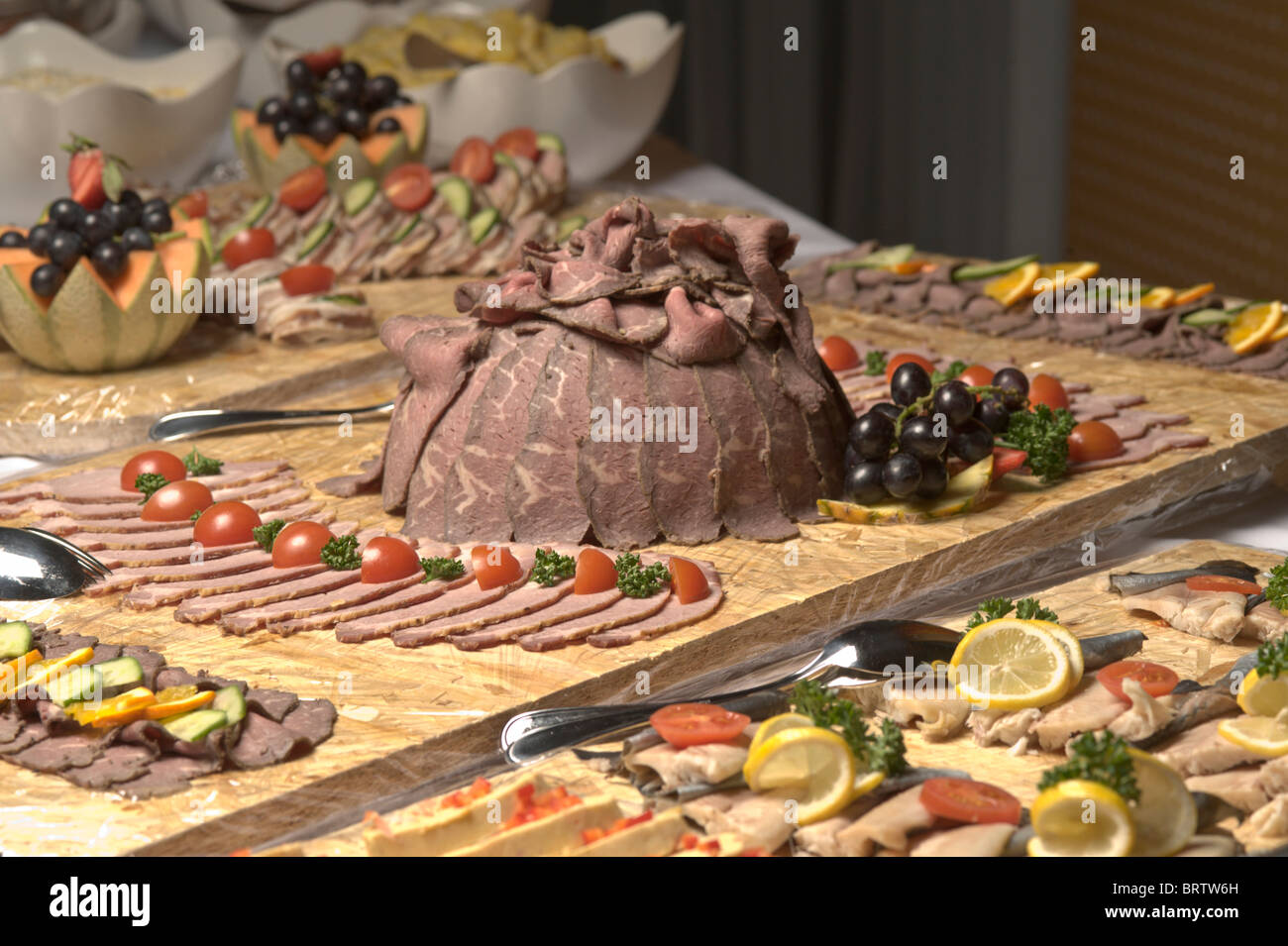 Cold cuts with roast beef and ham, buffet, food Stock Photo