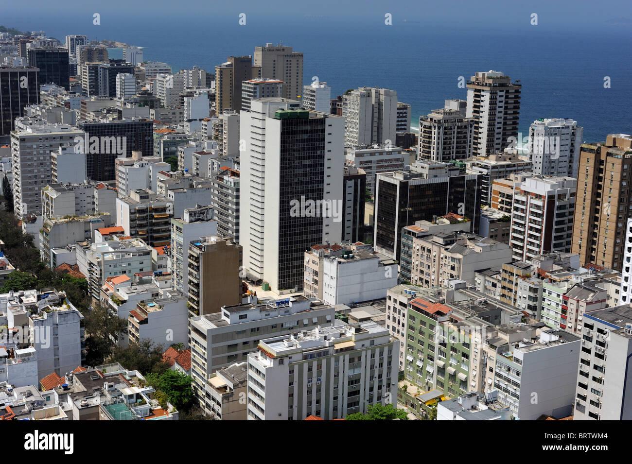 Aerial shot looking across the skyline of  Rio de Janerio - Stock Image