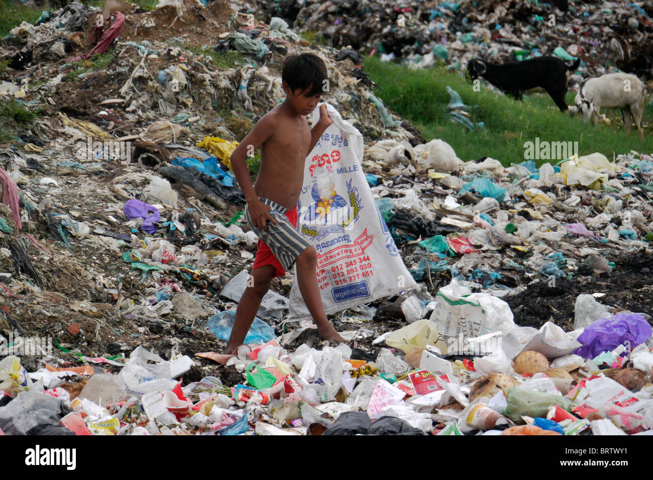 CAMBODIA Boy scavenging for recyclable garbage on rubbish dump of Mean Caeay, Phnom Penh. PHOTO by SEAN SPRAGUE - Stock Image