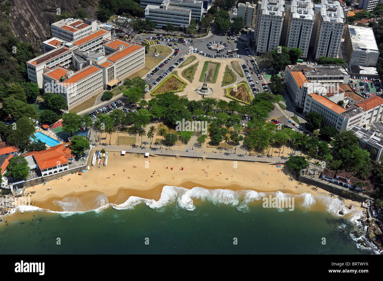 Aerial shot of the beach next to the entrance of Sugar Loaf Mountain known in Brazil as the Pao de Acucar - Stock Image