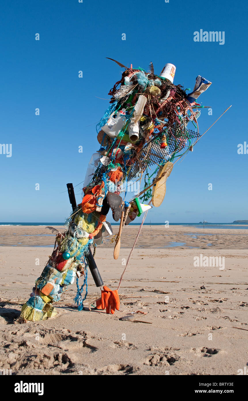 a sculpture made from litter found on  a beach near hayle in cornwall, uk - Stock Image