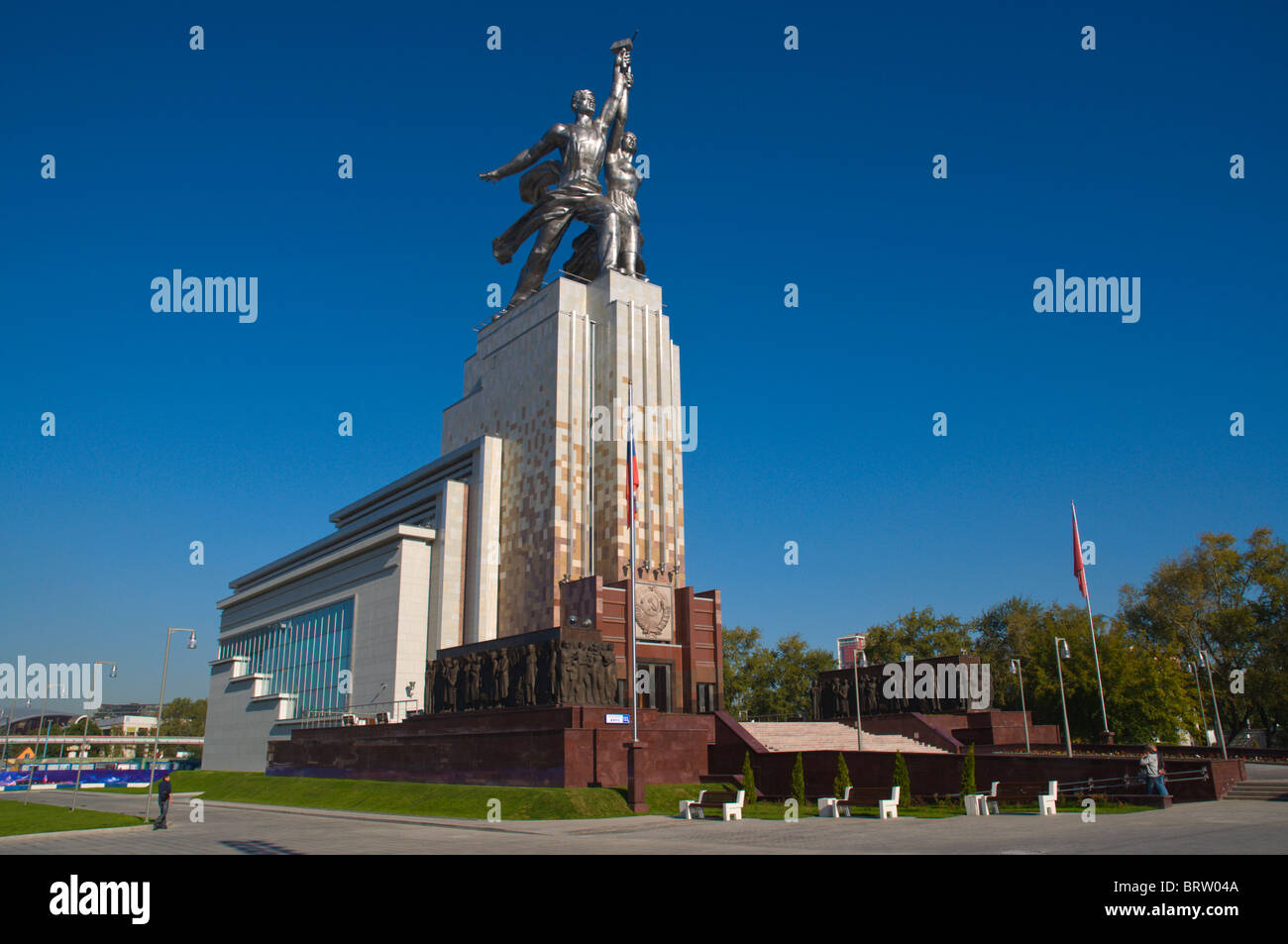 Worker and Kolkhoz by Vera Mukhina outside VDNKh All-Russian exhibition centre from Soviet times Moscow Russia - Stock Image