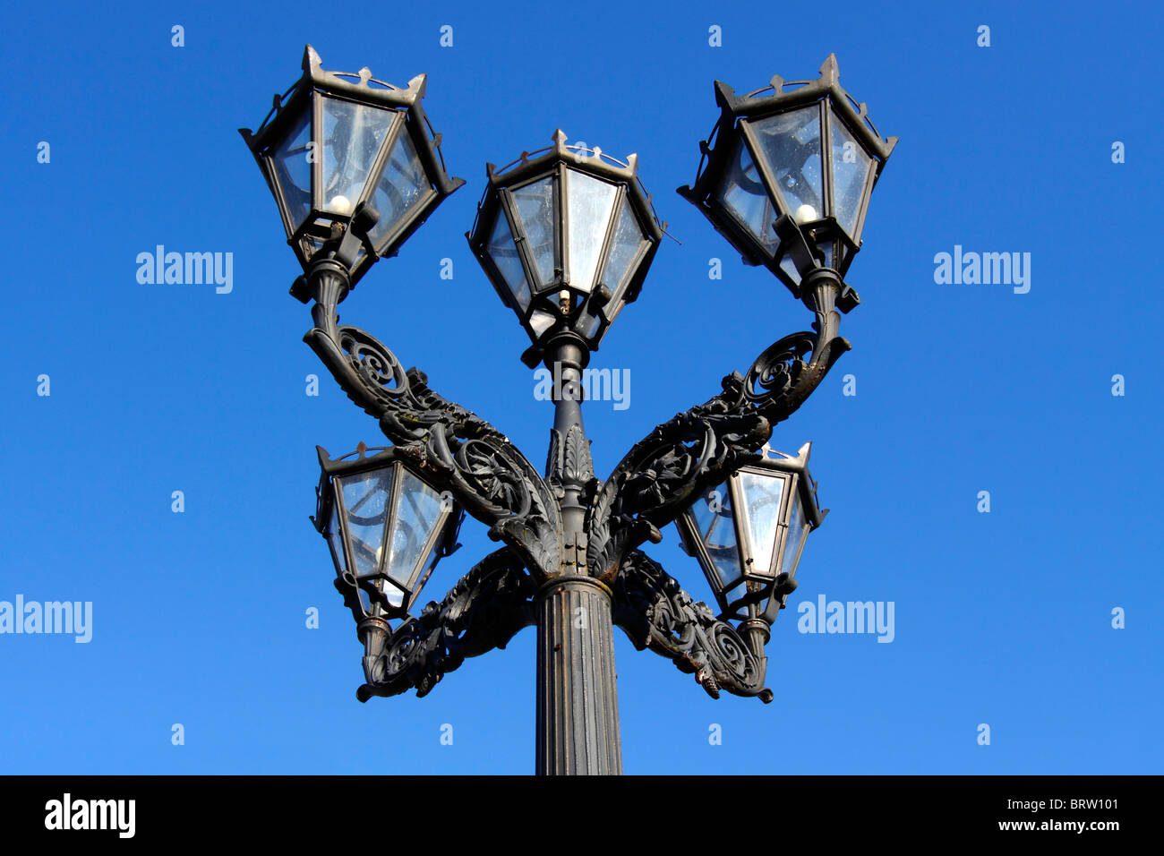 Historic candelabra, 5 lantern streetlight at the market place of Glueckstadt, Schleswig-Holstein, Germany, Europe - Stock Image
