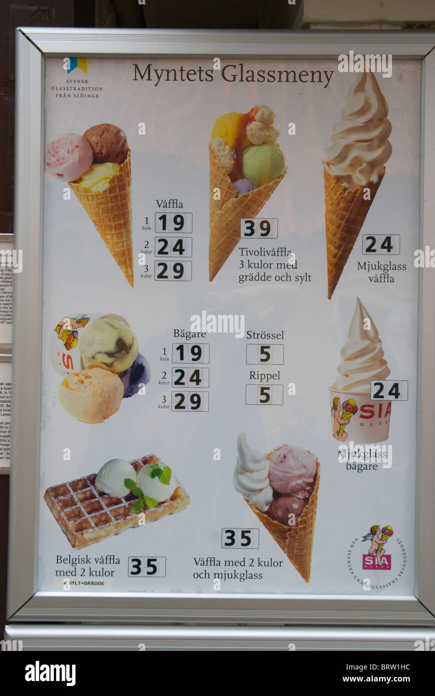 Price list of an ice cream parlour Sigtuna the oldest town