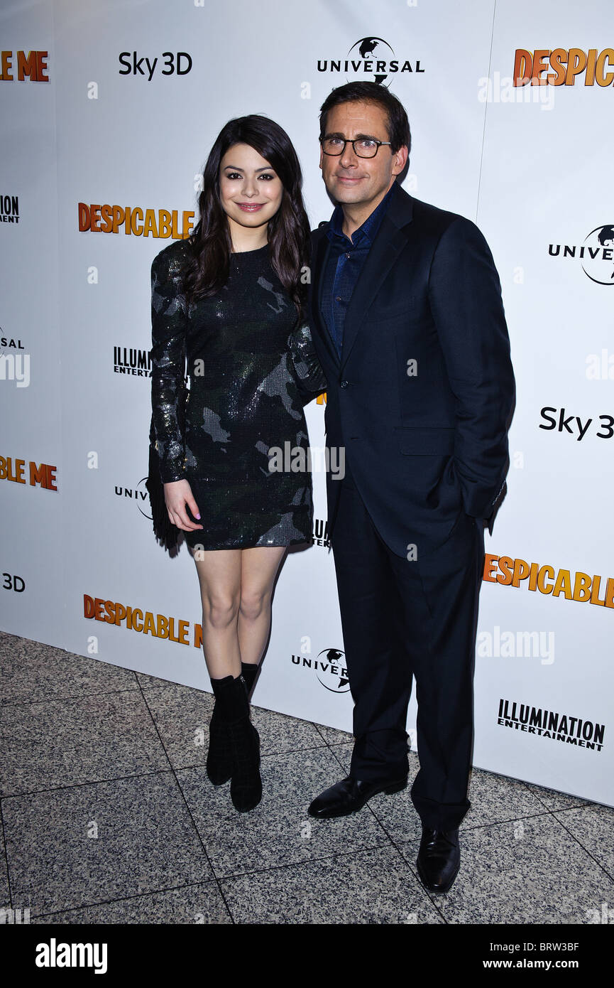 Miranda Cosgrove and Steve Carell attends the UK Premiere of Despicable Me at The Empire Leicester Square, London, - Stock Image