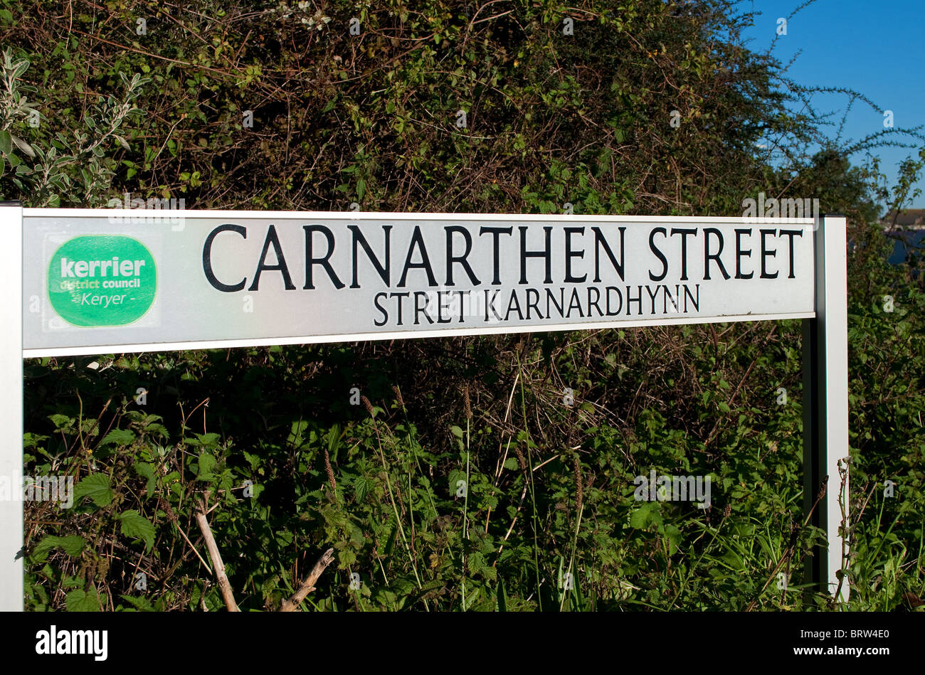 a street name sign in cornwall, uk,  the street name is also written in the cornish language - Stock Image