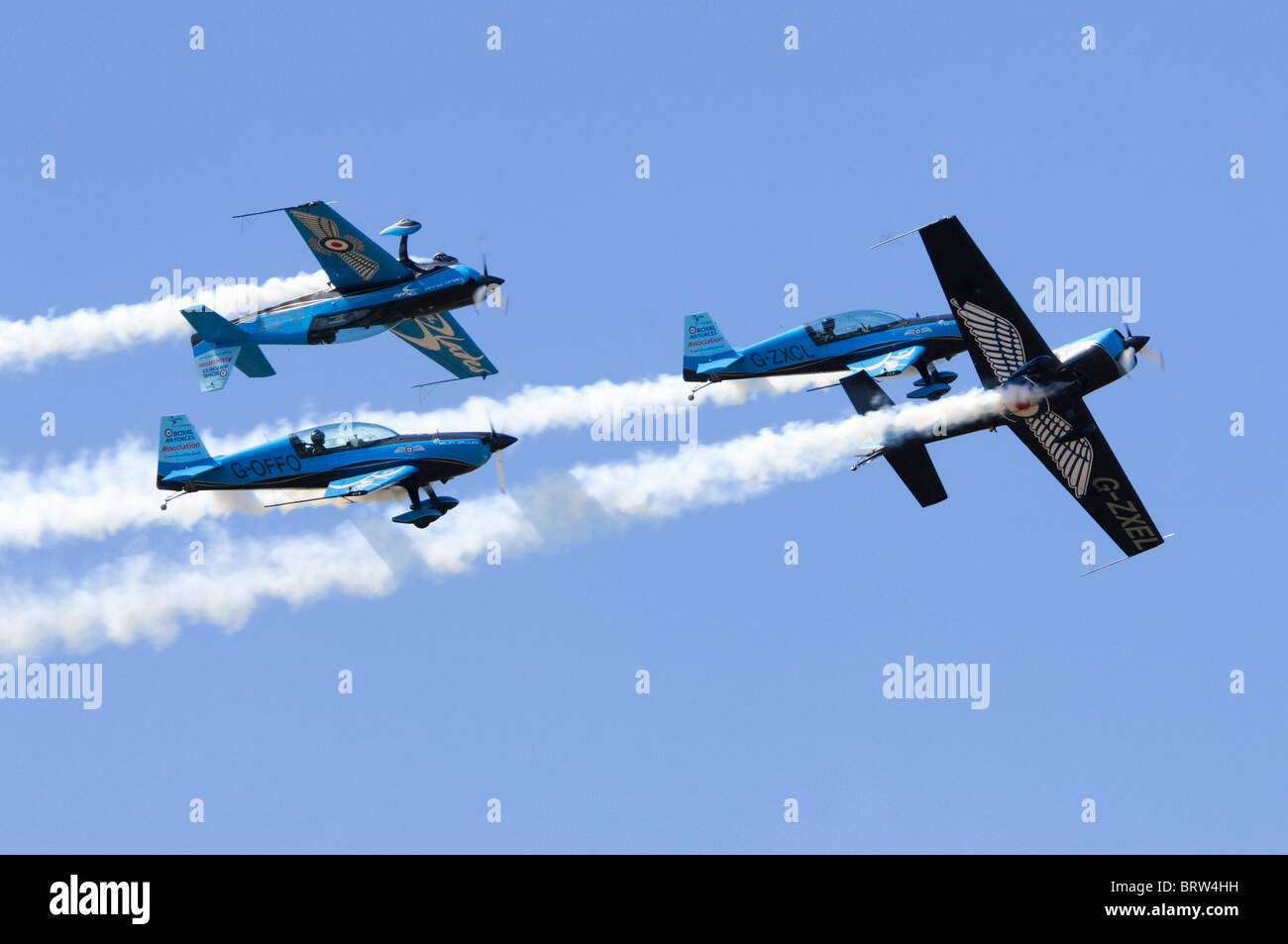 The Blades display team making a formation flypast at Farnborough Airshow - Stock Image