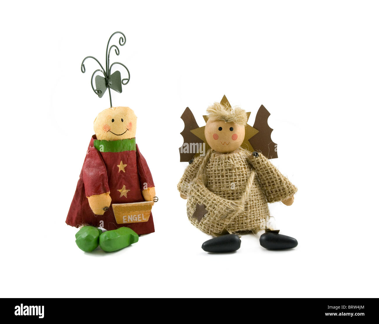 Two christmas angels isolated on white background Stock Photo ...