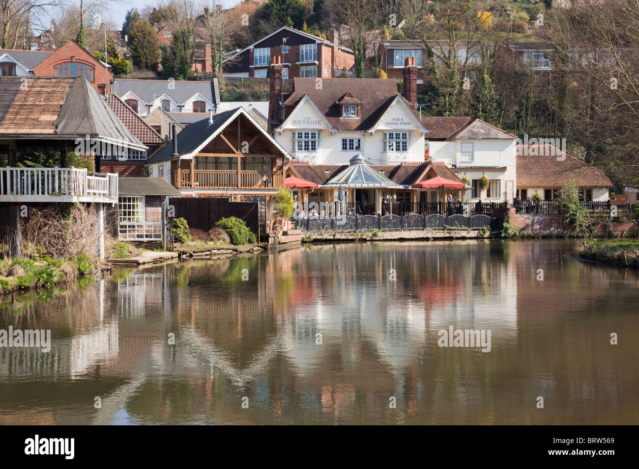 Guildford Surrey England UK The Weyside riverside pub reflected in River Wey on Godalming Navigation - Stock Image