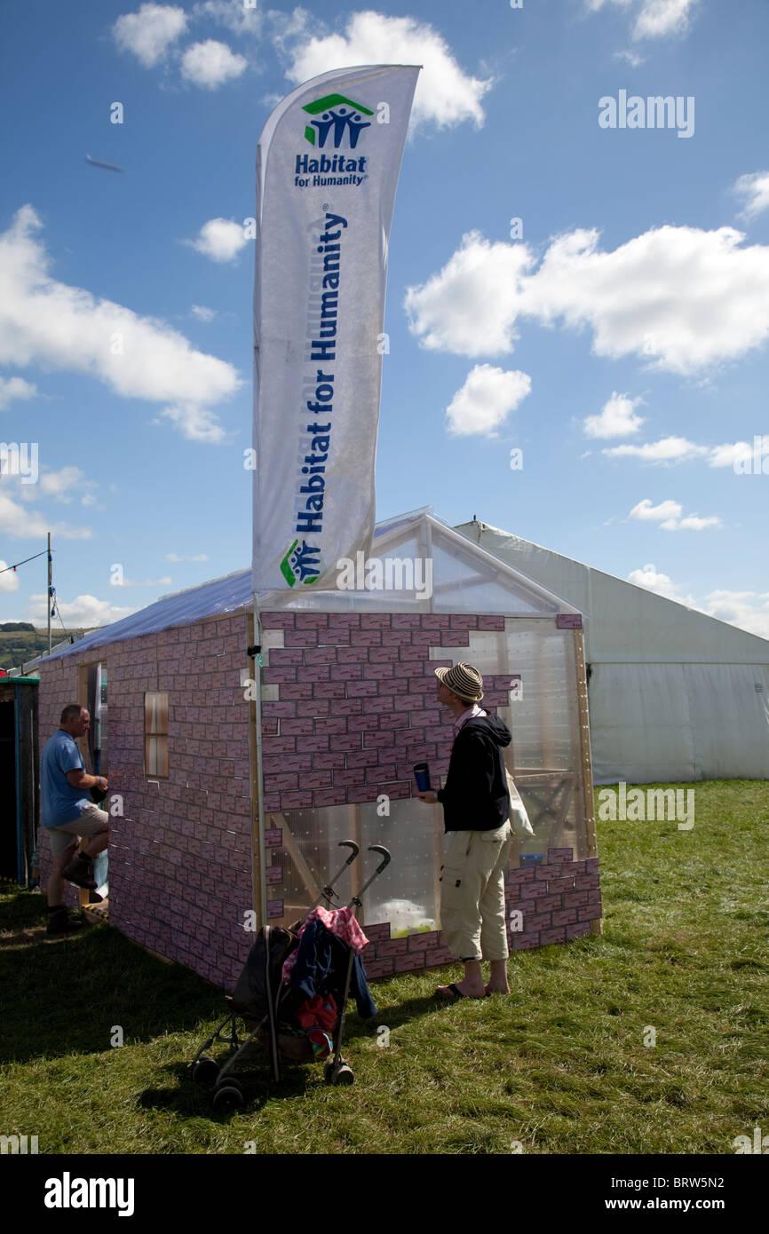Habitat for Humanity visitor exhibit help us build a home Greenbelt Festival 2010 Cheltenham UK - Stock Image