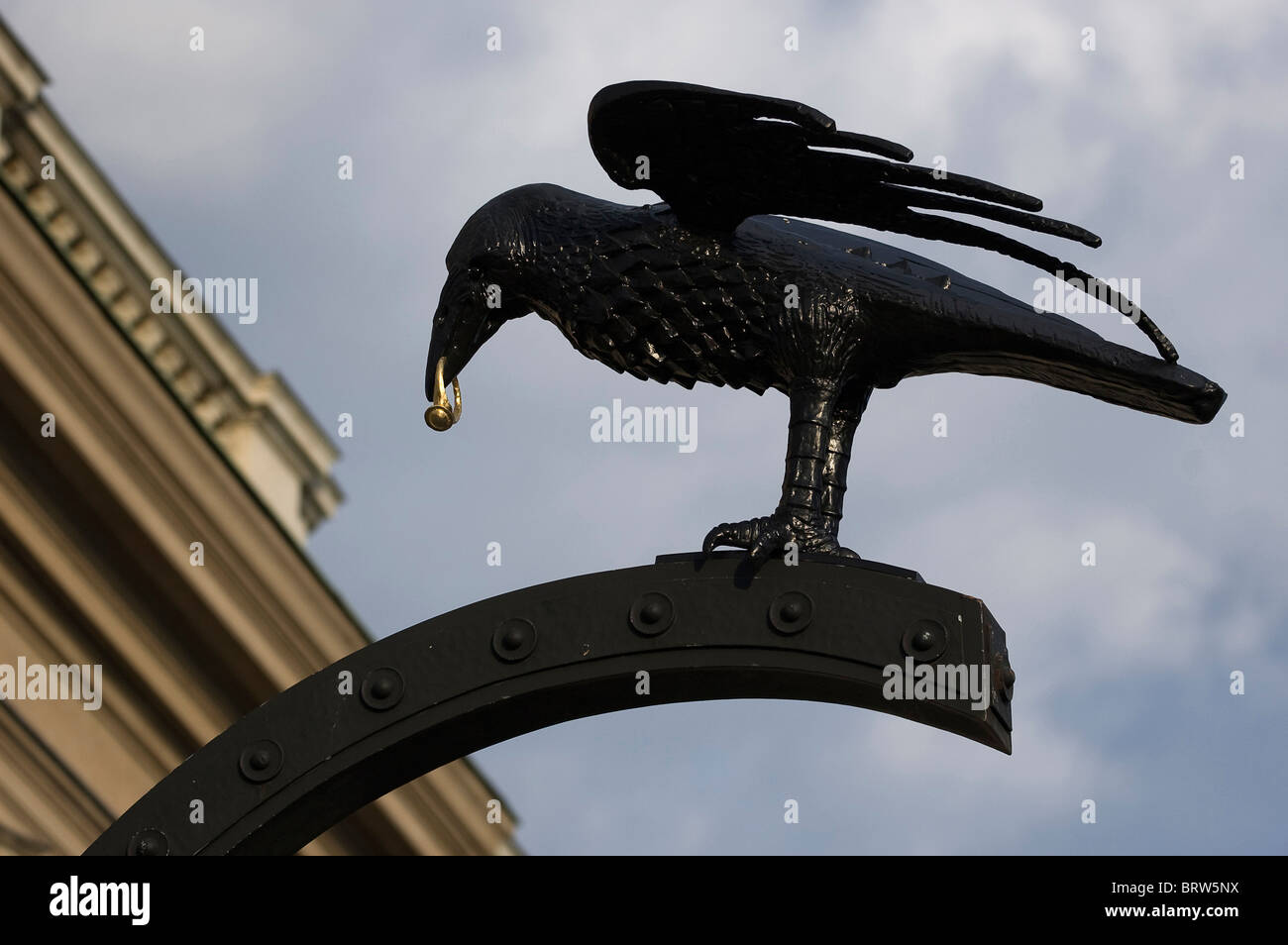 Black raven with a golden ring in its beak on the gate of the Buda Castle - Stock Image